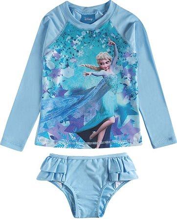 Conjunto Infantil Elsa Disney Frozen Azul - Proteção UV 50 FPS - Tiptop
