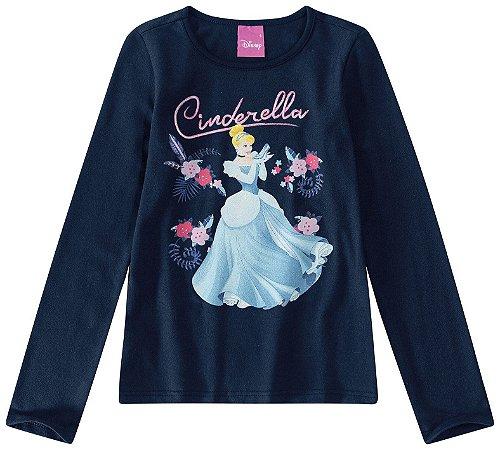 Blusa Princesa Cinderela - Disney - Azul Marinho - Malwee