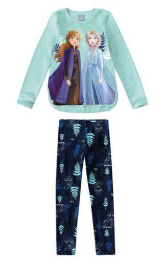 Conjunto de Blusa Moletom e Legging - Frozen 2 - Disney - Azul - Malwee