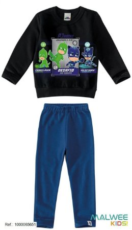 Conjunto de Blusa e Calça Moletom - PJ Masks - Preto e Azul Royal - Malwee