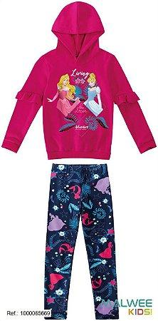 Conjunto de Blusa e Legging - Princesas da Disney - Rosa e Azul Marinho - Malwee