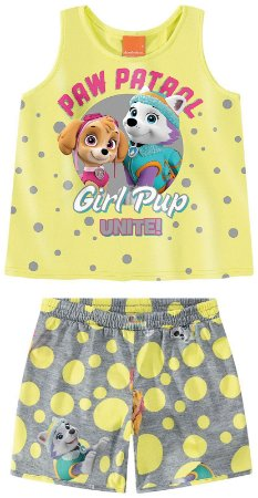 Conjunto Regata e Shorts Bebê Patrulha Canina Amarelo e Cinza - Malwee