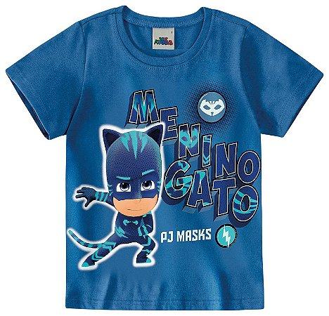 Camiseta Menino Gato - PJ Masks - Brilha no Escuro - Azul - Malwee