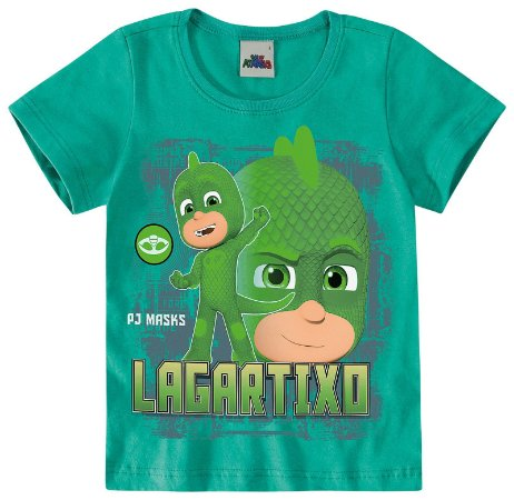 Camiseta Lagartixo -  PJ Masks - Brilha no Escuro - Verde - Malwee