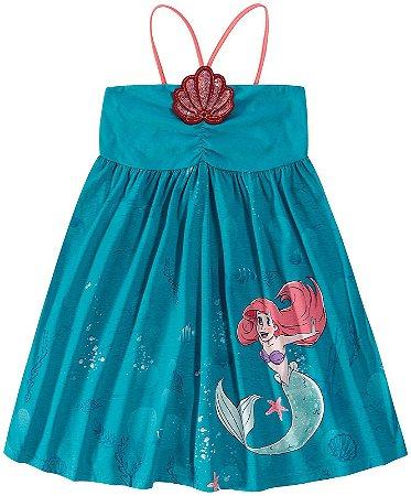 Vestido da Princesa Ariel - Aplique Lantejoulas