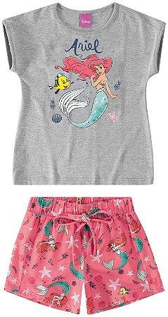 Conjunto Blusa e Shorts - Princesa Ariel - Cinza e Coral - Malwee