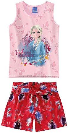 Conjunto Infantil  Elsa Disney Frozen 2 - Rosa e Vermelho - Malwee
