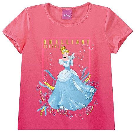 Blusa Princesa Cinderela - Princesas da Disney - Coral - Malwee