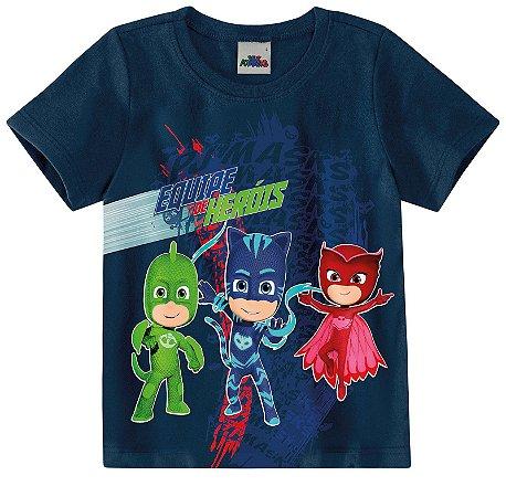 Camiseta PJ Masks - Equipe Heróis - Azul Marinho - Malwee