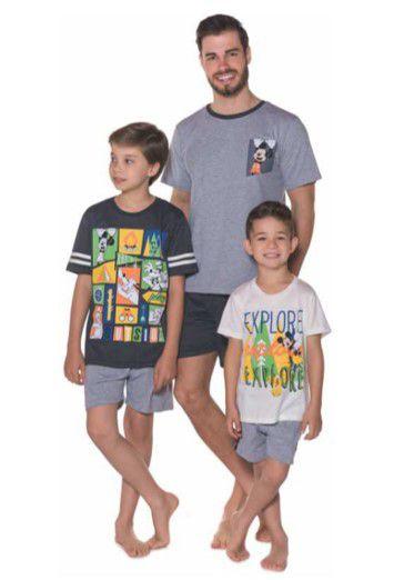Pijama do Mickey - Coleção Pai e Filho - Cinza Azul e Branco
