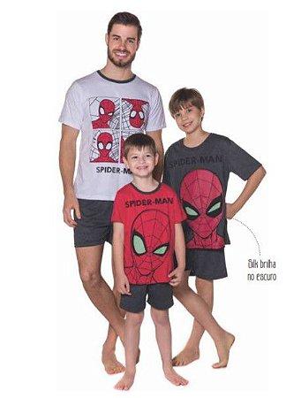 Pijama do Homem Aranha - Coleção Pai e Filho - Marvel Spiderman - Branco, Cinza e Vermelho