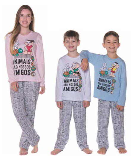 Pijama Turma da Mônica - Coleção Mãe e Filho - Cinza