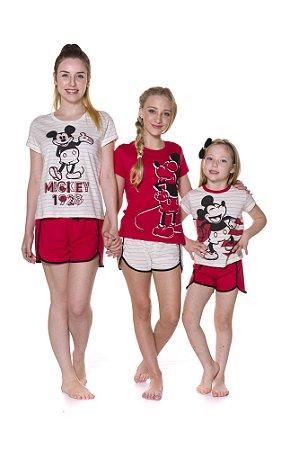Pijama Short Doll do Mickey - Vermelho e Branco - Coleção Mãe e Filha - Disney
