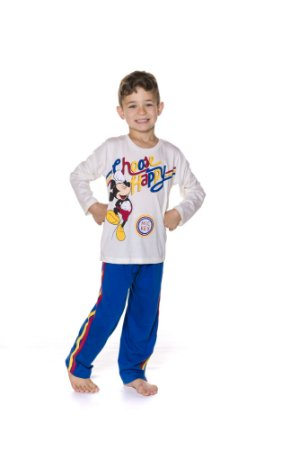 Pijama infantil Mickey Disney com BRINDE - Azul e Branco