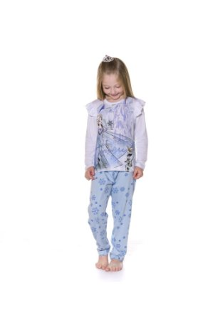Pijama Infantil Elsa e Olaf Disney Frozen II + BRINDE - Azul e Branco