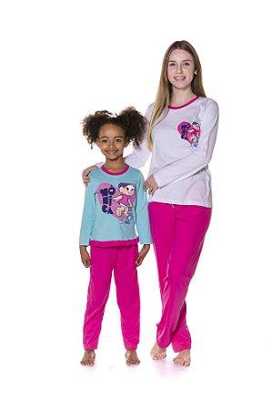 Pijama da Mônica e Sansão  - Coleção Mãe e Filha - Rosa Branco e Azul