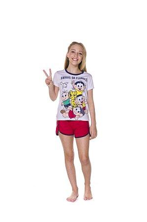 Pijama Short Doll Juvenil Turma da Mônica Amigos da Floresta - Branco