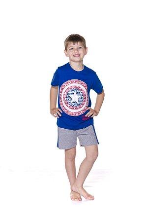Pijama Infantil Capitão América Marvel - Azul Royal e Cinza