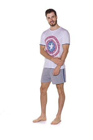 Pijama Capitão América Marvel - Branco e Cinza - Adulto