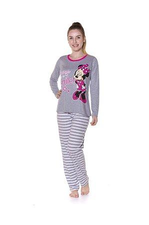 Pijama Adulto Minnie Disney  - Cinza e Branco