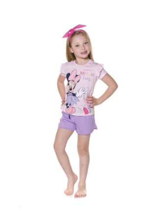 Pijama Short Doll Infantil Minnie Disney - Rosa e Lilás