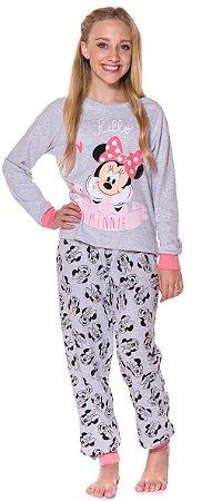 Pijama Flanelado Juvenil Minnie Cinza - Coleção Mãe e Filha