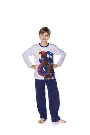 Pijama Juvenil Capitão América Marvel - Branco e Azul Marinho