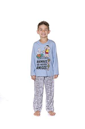 Pijama Cascão - Turma da Mônica - Azul e Cinza