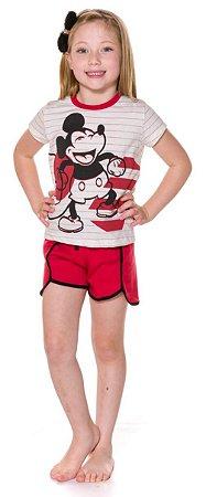 Pijama Infantil Mickey Branco e Vermelho - Coleção Mãe e Filha
