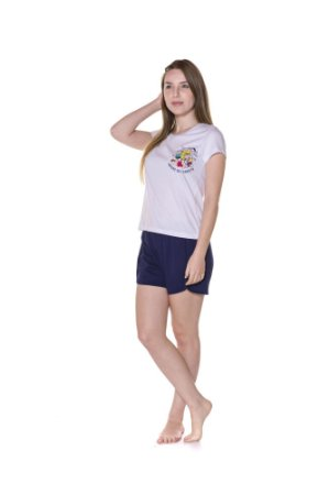 Pijama Short Doll Adulto Turma da Mônica Amigos da Floresta - Branco