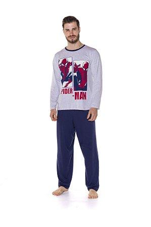 Pijama Adulto Homem Aranha Marvel Spiderman - Cinza e Azul Marinho