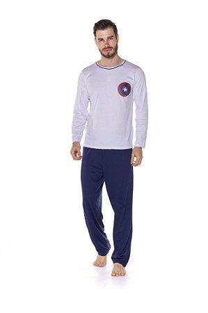 Pijama Adulto Capitão América Marvel - Azul Marinho e Branco