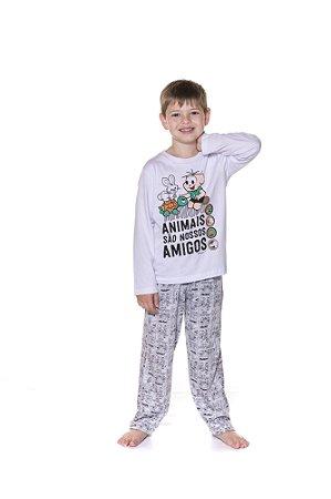 Pijama Infantil Cebolinha - Turma da Mônica - Branco e Cinza
