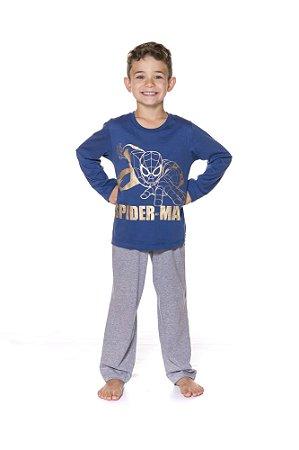 Pijama Infantil Homem Aranha Marvel - Cinza e Azul