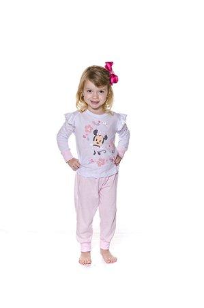 Pijama Infantil Minnie Disney - Branco e Rosa - Primeiros Passos