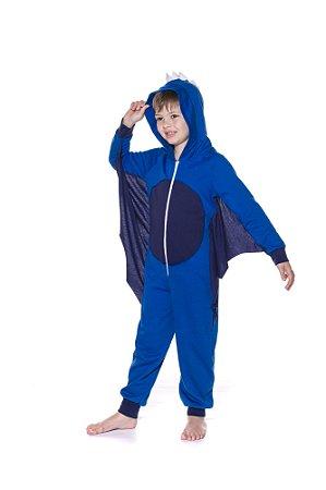 Pijama Infantil Moletinho Dragão com Asas - Azul