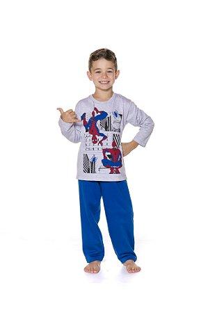 Pijama Infantil Moletinho Homem Aranha Marvel - Azul e Cinza