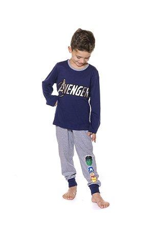 Pijama Infantil Avengers Marvel - Cinza e Azul Marinho