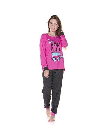 Pijama do Coelhinho - Adulto - Rosa e Azul Marinho