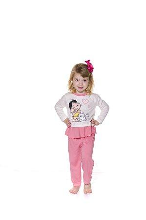 Pijama Infantil Magali - Turma da Mônica - Rosa e Branco