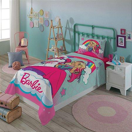 Jogo de Cama - Barbie - 2 Peças  - Unicórnio e Arco-Íris - Rosa - Lepper