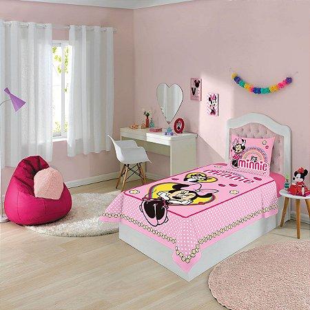 Jogo de Cama Disney Minnie -2 Peças - Rosa - Lepper