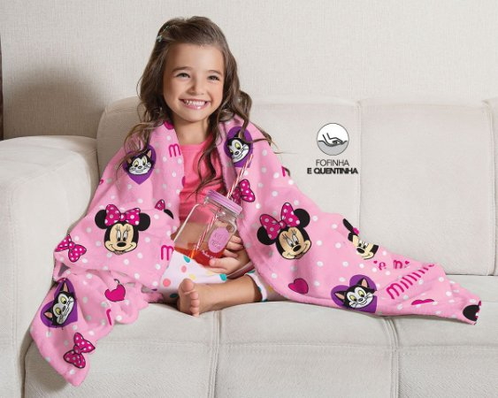 Manta da Minnie -Sofá - Disney - Rosa - Lepper