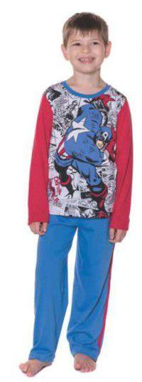 Pijama Infantil Capitão América Marvel - Azul e Vermelho