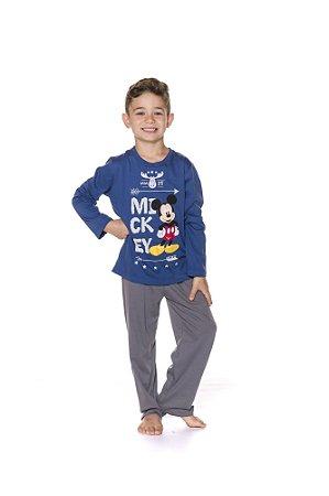 Pijama Infantil Mickey Disney  - Azul e Cinza