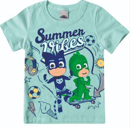 Camiseta PJ Masks Heróis em Ação - Azul - Malwee