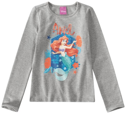 Blusa Infantil Princesa Ariel Cinza - Malwee