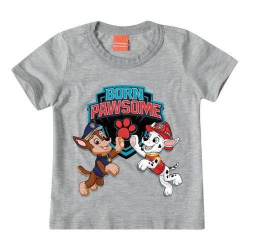 Camiseta da Patrulha Canina - Chase e Marshall - Cinza - Malwee