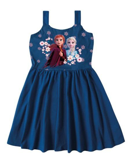 Vestido Disney Frozen II - Anna e Elsa - Azul Royal - Malwee