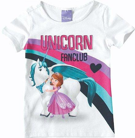 Blusa Infantil Princesa Sofia e Unicórnio Branca- Malwee